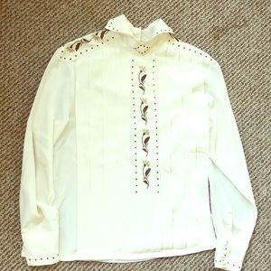 Lovely Pleated Embroidered David Matthew Top